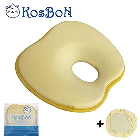 KOSBON 9 Inches Soft Memory Foam Baby Head Positioner Pillow,Prevent Flat Head (Yellow Apple Shape)