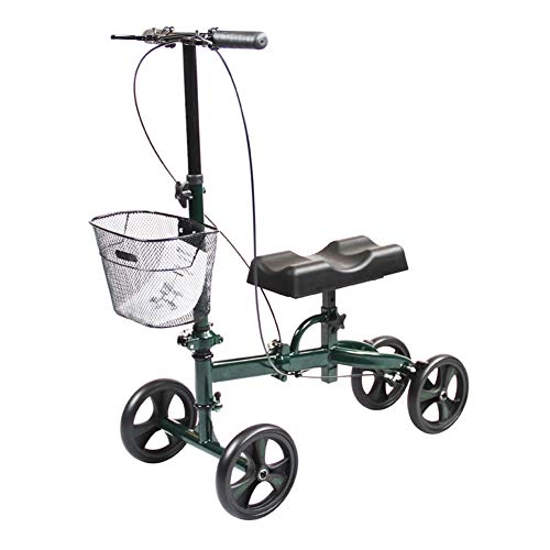 Rollator Walker-korb (GFDDZ Kniewanderer mit Korb | Leichter Rollator Walker mit Sitz | Transport Chair | Kniescooter, höhenverstellbar, 4 Räder für gewichtslose Verletzungen unterhalb des Knies,Green)