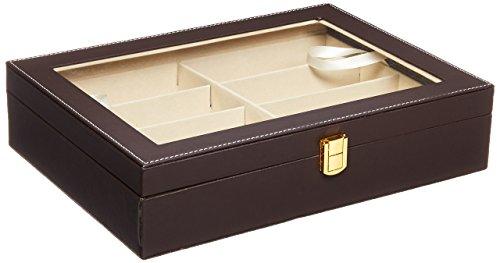 Krokodil-Kunstleder Box Unionplus 8Einschübe für Sonnenbrillen oder Brillen, Display Aufbewahrung, Organizer Sammelbox coffee -
