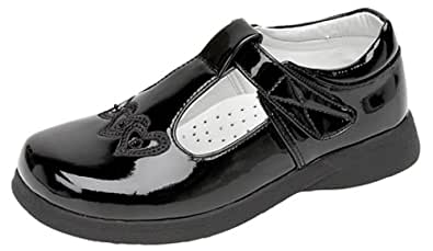 Girls Touch Fastening T-bar Shoes BLACK PATENT size 6 UK