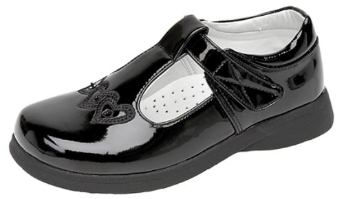 Boulevard Girls Touch Fastening T-bar Shoes BLACK PATENT size 8 UK