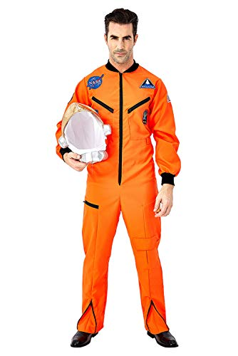 Für Orange Kostüm Herren Erwachsene Overall Astronaut - Fortunezone Herren Astronaut Kostüm Weltraum Raumfahrer Astronauten-Anzug Spaceman Overall Outfit Orange L