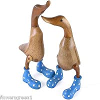 Wooden hand carved Duck with Polka Dot boots on on. 35cm tall