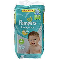 Pampers Baby Dry, Taille 4, 9-14kg, Mega Plus Pack, 120Pièces
