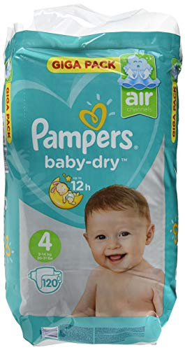 Pampers Baby Dry, Taille 4, 9–14 kg, Mega Plus Pack, 120 Pièces