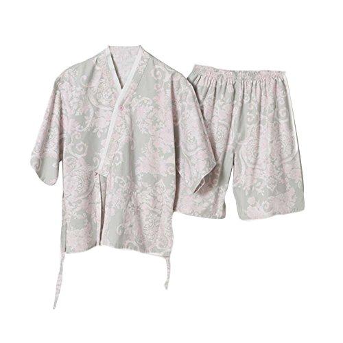 Blancho Coton Khan vêtements à Vapeur Pyjama Court Suit Kimono Style Flora modèle Loungewear