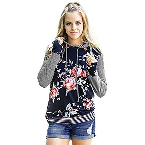 Sweatshirt Winter Floral Gestreiften Herbst Langarm Shirt ()