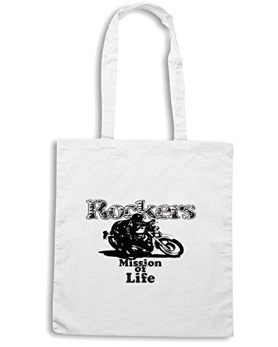 T-Shirtshock - Borsa Shopping T0257 Rockers auto moto motori Bianco