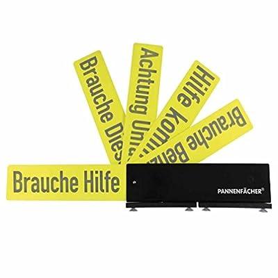 Pannenfächer Schilder-Fäche Warndreieck in Schwarz-Gelb mit 5 Hinweiskarten Reflektierend zum Ausklappen Saugfüße zur Befestigung auf dem Dach
