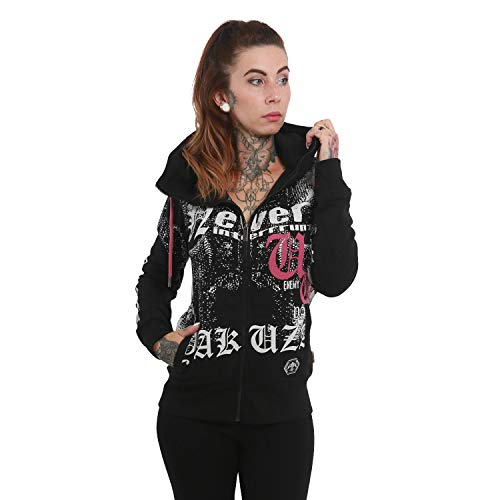 Yakuza Damen Diamond Skull High Neck Zip Hoodie Kapuzenjacke Diamond Zip Hoodie