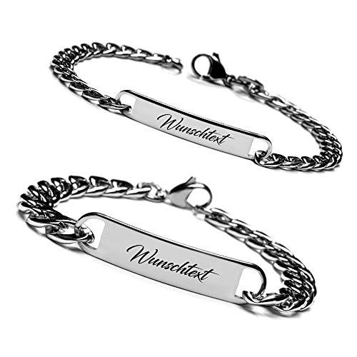 Armband mit Namen Personalisiert, Personalisierbare Armbänder für Pärchen, Edelstahl Armbänder für Paare I Partnerarmband mit Wunschgravur