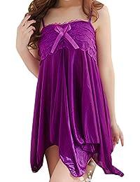 Sugou Femmes sexy dentelle Bow sous-vêtements tentation nuisettes robe de nuit racé