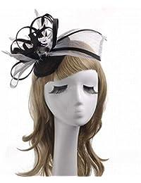 56b23382269c7 Eeayyygch Sombrero - señoras Tocado de otoño e Invierno Sombrero de Damas  Estilo Europeo de Lino Boda Banquete fotografía Boda…