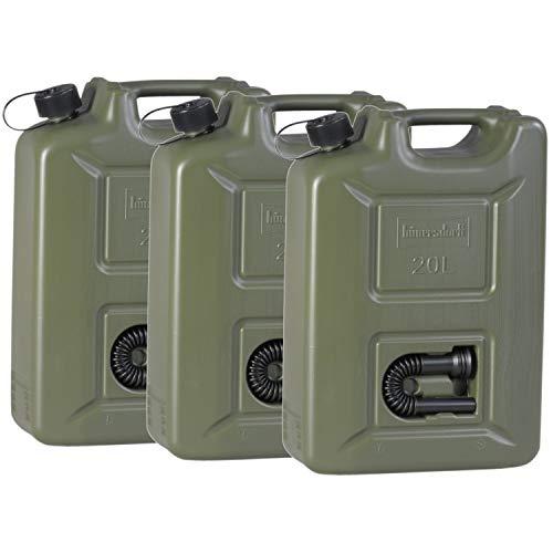 hünersdorff 3er Set Kraftstoff-Kanister PROFI 20l für Benzin, Diesel und andere Gefahrgüter, Made in Germany, TÜV-geprüfte Produktion, oliv