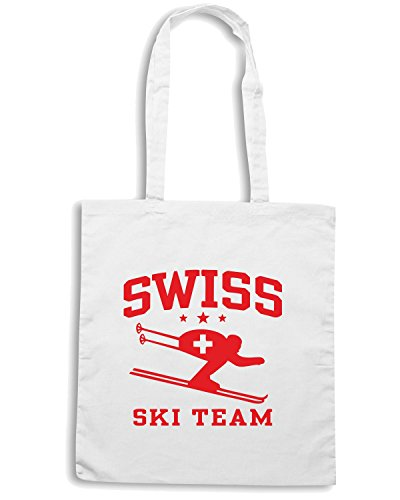 T-Shirtshock - Borsa Shopping OLDENG00261 swiss ski team Bianco