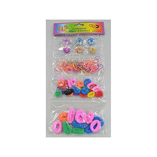 Set Cheveux Enfant Multicolore : 12 Chouchous 25mm / 24 Chouchous 15mm / 40 Mini-Elastiques / 6 Mini Pinces Crabes Etoiles