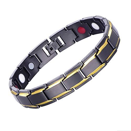 Magnetarmbänder für Herren, Gold Schwarzer Titan Stahl Magnetfeldtherapie Gesundheitspflege Magneten Armband mit Free Link Removal Tool