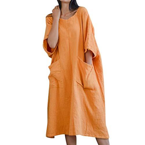 AIni Robe ÉTé Femme Pas Cher Robe Ample en Coton Et Lin à Manches Longues à Col Rond De Couleur Unie Casual Clubbing Cocktail SoiréE Robe De Plage(XL,Orange)