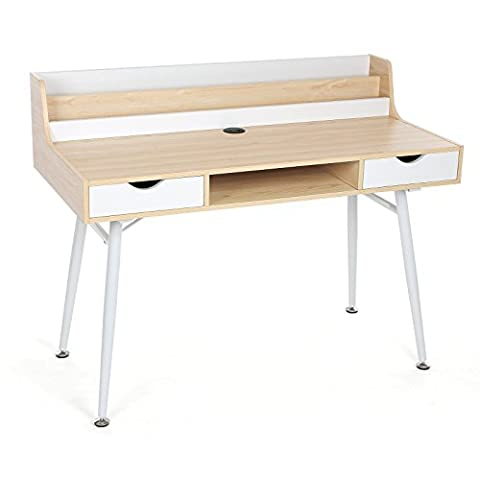 Songmics Writing Desk Computer Workstations Board and Stable Steel Structure with 2 Drawers 120 x 43 x 94 cm (W x D x H) MDF Natural Wooden