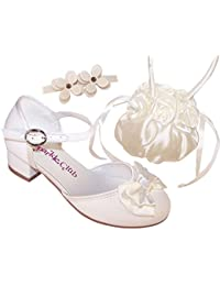 beea1ca19 Girls Children Sparkly Ivory Heeled Flower Girl Bridesmaid Special Occasion  Shoes Satin Bag and Hairclip