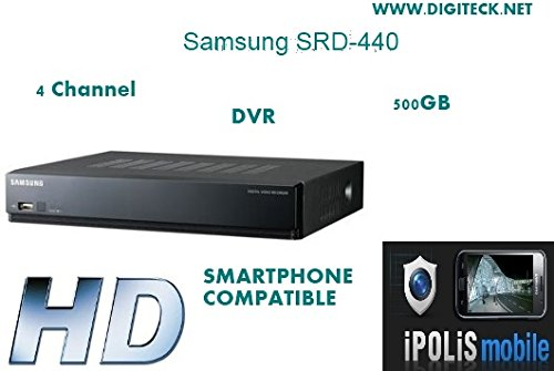 CHANNEL SAMSUNG SRD-440 4 H, 264 COMPACT Digitalrekorder 500 GB inklusive HD DVR CCTV SMARTPHONE kompatibel 12,7 cm TFT LCD Colour TV MONITOR integrierte Lautsprecher 500 Gb Dvr
