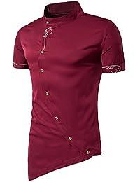 YCHENG Lujo Camisa Hombre Asimétrico Botón Bordado Manga Corta Cuello Mao de Boda Fiesta Casual