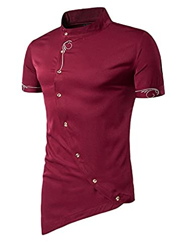 YCHENG Men's Short Sleeve Casual Stand Collar Dress Shirts with