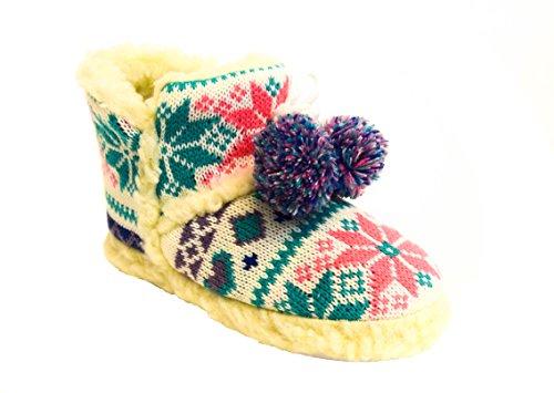 TMY- Mädchen Hüttenschuhe, wollig warm mit Multicolour gestricktes Muster, Farben Türkis-Rosa Gr.: 28/29- 34/35 Blau