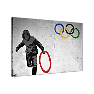 BANKSY THUG STEALING OLYMPIC RINGS CANVAS WALL ART PRINTS STREET GRAFFITI PHOTOS PRINT DECOR PICTURE WALL DECORATION
