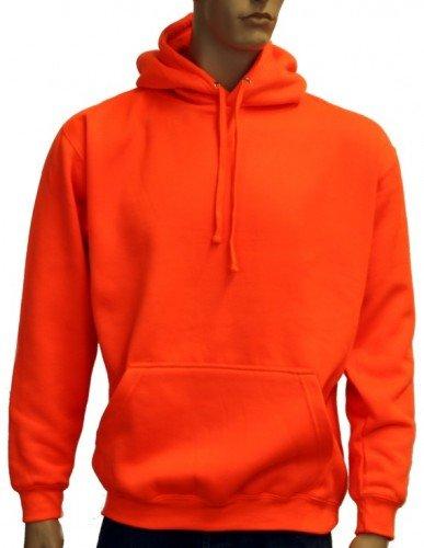 Coole-Fun-T-Shirts Herren Neon Sweatshirt mit Kapuze floureszierend, neonorange, XL,...