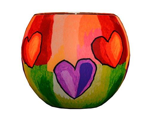 Plaristo moderno cuori 11cm glowing portacandela in vetro, multicolore, 10.5x 10.5x 9cm