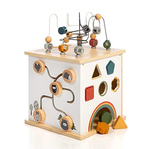 SUN Motorikwürfel Waldtiere aus Holz XXL inklusive Kochplatten - Spielwürfel mit Mini-Küche