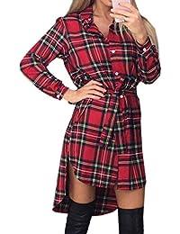 8a1287162bfa OUFour Primavera e Autunno Irregolare Corto Vestiti Donna Quadri Camicie  Abito Moda Risvolto Manica Lunga Vestito