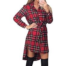 f8fc79b7616182 OUFour Primavera e Autunno Irregolare Corto Vestiti Donna Quadri Camicie  Abito Moda Risvolto Manica Lunga Vestito