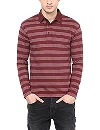 Hypernation Maroon Stripe Polo Cotton T-shirt