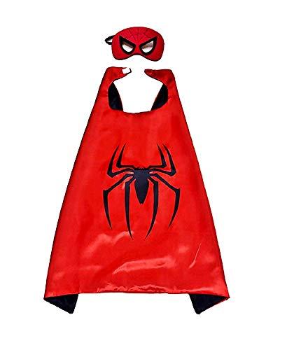 Set Costume Uomo Ragno - Travestimento - Carnevale - Halloween - Spiderman - Super eroe - Colore rosso - Maschera - Mantello - Bambino - 3-6 anni - Idea regalo per natale e compleanno