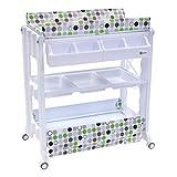 Clamaro 2in1 Wickeltisch mit Badewanne Kombination, Wickelkomode mit Wickelauflage und Babywanne Aufsatz, fahrbar auf 360° Rollen mit Bremse, 3 x Ablagefächer, 1 XL Staufach, Muster: Punkte