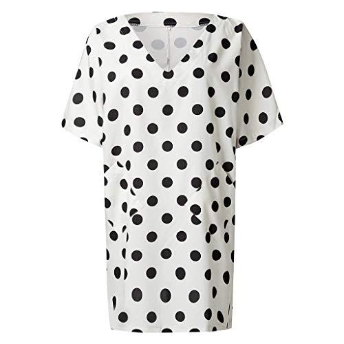 Tohole Damen Kleid Frauen Boho Halsausschnitt BeilUfige Lose Kaftan Kleid V-Ausschnitt Welle Punkt Groß Tasche Lose Elegante Bhmischer Stil Kleid(Weiß,2XL)