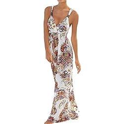 ITISME Femme Cocktail Robes Bohème À Manches Longues Floral Automne Parti Maxi Robe