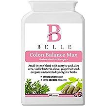 Belle® - Colon Balance suplemento Max - Anti-Candida, intestino sano y fórmula de desintoxicación - Complejo Gastrointestinal - equilibrio de levadura, salud digestiva, limpieza y desintoxicación suplemento - contiene ácido caprílico, junto con un amplio espectro de hierbas activas, probióticos y otros naturales de limpieza Agentes - 60 cápsulas