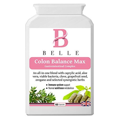 Belle® Colon Balance Max Ergänzung - Anti-Candida, gesunde Darm- und Entgiftungsformel - Gastrointestinale Komplex - Hefebilanz, Verdauungsgesundheit, Reinigung und Entgiftungsergänzung - enthält Kapselsäure, zusammen mit einem breiten Spektrum an aktiven Kräutern, Probiotika und anderen natürlichen Reinigungsmitteln - 60 Kapseln