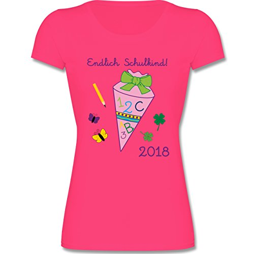 Einschulung - Endlich Schulkind 2018 Mädchen - 164 (14-15 Jahre) - Fuchsia - F288K - Mädchen T-Shirt (Kleine Fuchsia Bekleidung Kinder)