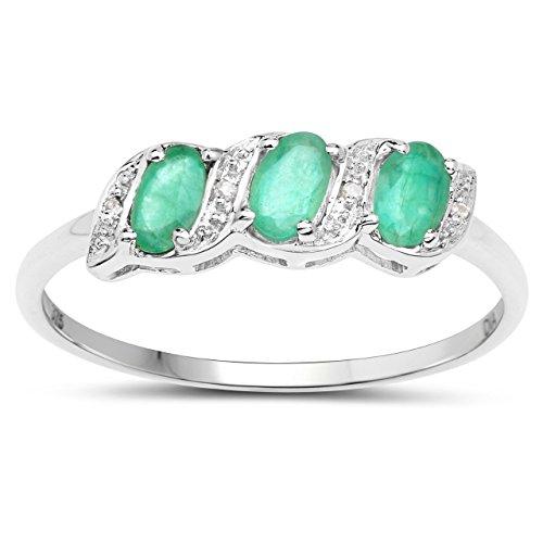 Ring Sammlung: 9 CT Weißgold Smaragd und Ewigkeit Verlobungsring Ringgröße 62 ()