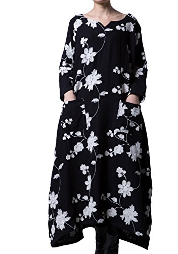 Voguees Women's Plus Size Cotton Dress With Pockets, Black-Style 1, UK 20-26