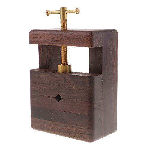 Fenteer Hölzernes Siegelbett Geschnitztes Bett Holz Tisch Bank Schraubstock Mini Tisch Schraubstock für Schmuck, Uhren, Hobby, Modellbau - Schwarzes Astholz, 15 x 8,5 x 5,5 cm -