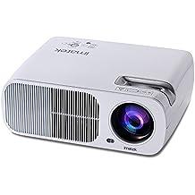 Videoproyector, IMATEK PJ-B200 Multi-función LCD proyector de vídeo,2600 lúmenes SVGA 800 * 480 resolución 20,000 horas Lámpara LED Lamp Life,Contraste 2000: 1 para reuniones de oficina y cine en casa