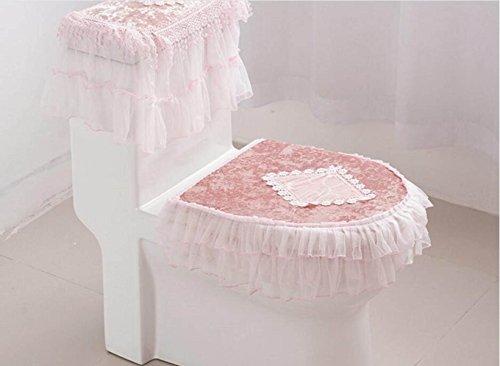 HQQ MEI Toilettensitz WC Sitzpolster DREI Sätze von Gold Samt Spitzen WC Abdeckung WC-Sets ziehen sogar Serie Produkt-Größe: 15.4in * 18.1in (Farbe : Pink) Series 15.4