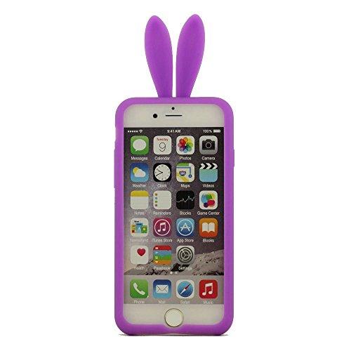 iPhone 6 Plus Case Cover, Coque ( Noir ) Housse de Protection pour iPhone 6S Plus 5.5 Pouce, Prime Silicone Gel Matériel Ultra Souple Doux style de Slim Coloré Oreille du Lapin Série Pourpre