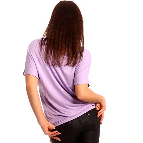 Young-Fashion - T-shirt de sport - Avec nœud - Uni - Manches Courtes - Femme Purple - Lilac