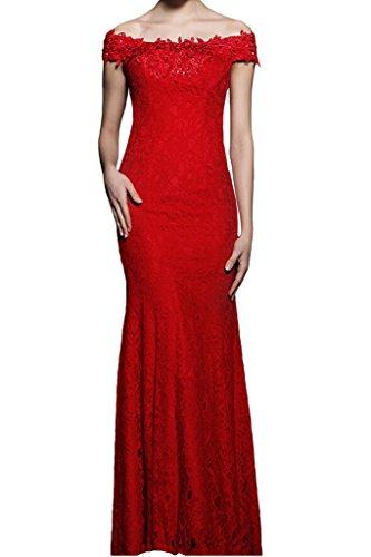La_Marie Braut Rot Hochwertig Spitze Schulterfrei Chiffon Abendkleider Partykleider Feiernkleider Lang Rot